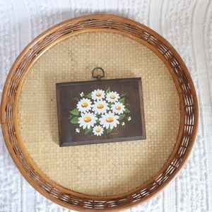 Vintage hand painted Daisies on wooden plaque